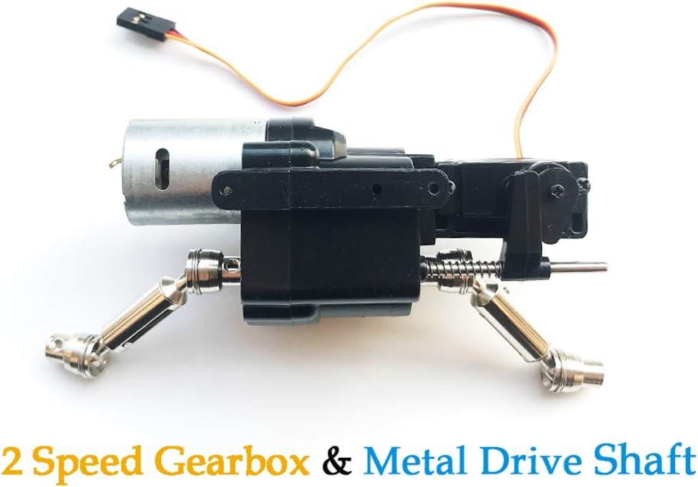 MaxMetal WPL RC Car Split Transfer Speed Gearbox 2 Speed Transmission with 370 Motor+Servo with Metal Drive Shaft for WPL B14 B24 B16 B36 C14 C24
