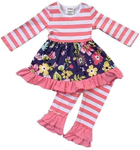 Pink Lace Capri 2 Piece - Little Girls 2 Pieces Dress Set Ruffle Hem Dress Stripe Legging Pant Clothing Set Coral 3T S (201204)