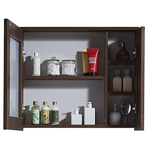 Svitlife Grey and Brown Finish Glass and Wood 29.5-inch Medicine Cabinet - Wood Finish/Brown Finish/Textured Top Drawer White Solid Square Wooden ()