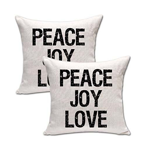 Queenie® - 2 Pcs Meaningful English Writing Inspirational Words Quotable Quotes Cotton Linen Decorative Pillowcase Cushion Cover for Sofa Throw Pillow Case 18 X 18 Inch 45 X 45 Cm (2, Peace)