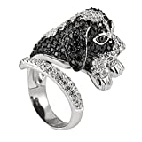 Zirconia Studded Beagle Sterling Silver Adjustable Ring