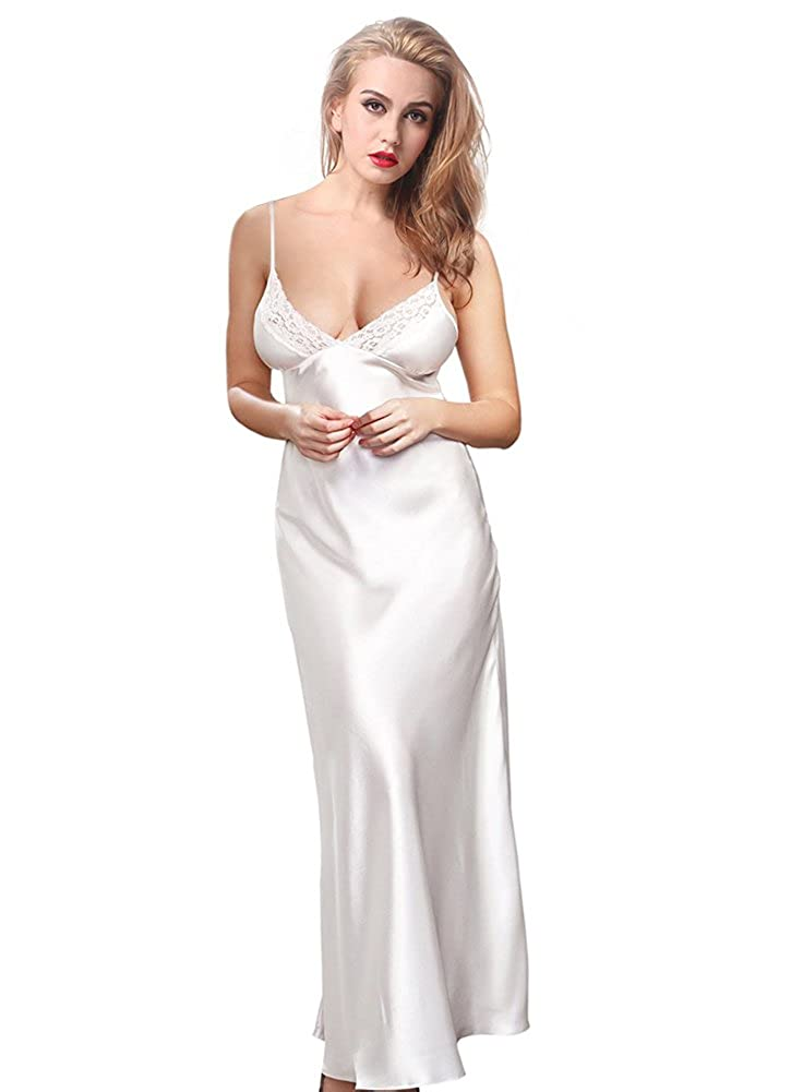 ETAOLINE Women's Long Satin Nightdress Silk Dressing Gown Full Length Slip Lingerie Plus Size