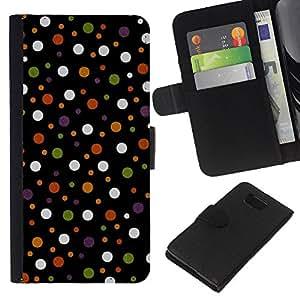 KLONGSHOP // Tirón de la caja Cartera de cuero con ranuras para tarjetas - Spots Polka Dot Design Tela Pastel - Samsung ALPHA G850 //
