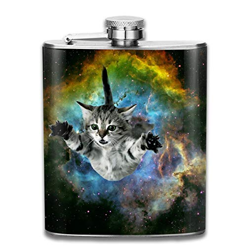Laki-co Space Cat Jumping Hip Flask for Liquor Stainless Steel Bottle Alcohol -