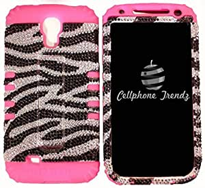 Cellphone Trendz Hybrid 2 in 1 Case Hard Cover Faceplate Skin Pink Silicone and Silver and Black Zebra Bling Crystal Rhinestones Snap Protector for Samsung Galaxy S4 S 4 SIV S IV I9500 (ATT,T Mobile,Sprint , Verizon) + Free Wristband Accessory Cellphone Trendz