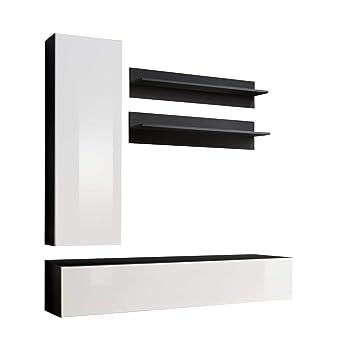 Conjunto Muebles de salón Colgantes Nora Negro Blanco Modelo ...