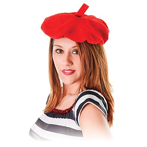 (Bristol Novelty BH111 French Beret Hat, Red, One)
