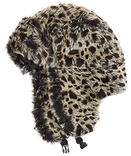 Lined Aviator (Womens Gray & Black Leopard Animal Print Lined Aviator Style Faux Fur Winter Hat With Earflaps -)