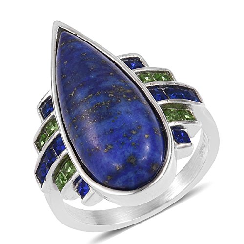 Stainless Steel Fancy Lapis Lazuli, Multi Gemstone Ring For Women Size ()