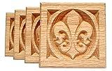 SET OF 4: Carved Fleur de Lis Rosette Blocks, Made in USA (3.5''x3.5'' RED OAK)
