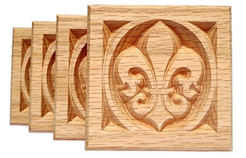 De Blocks Lis Fleur - SET OF 4:Carved Fleur de Lis Rosette Blocks, Made in USA (RED OAK)