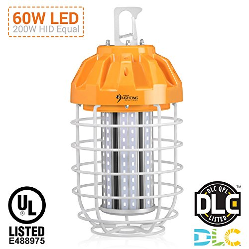 60W LED Drop Light For 150-200W HID/HPS/MH Replacement, 7115 Lumens, Spring Loaded Safety Latch, High Bay Lighting, Wire Guard, US Plug, 100-277VAC Rated, UL Listed & DLC Qualified (5000K Cool White)
