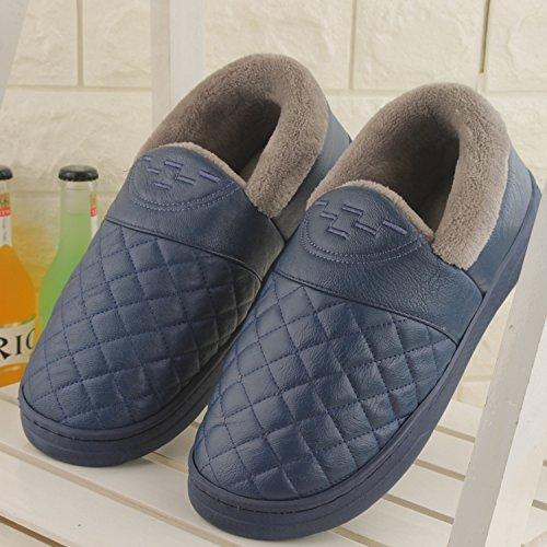 Fankou Autunno e Inverno pantofole di cotone femmina pacchetto impermeabile con un paio di spessore caldo e antiscivolo Tomaia in pelle colore solido home pantofole ,37-38, il vino rosso