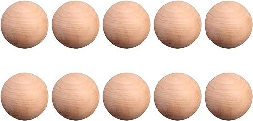 LIOOBO 10 Piezas de Bola Redonda de Madera, Bolas de Madera Dura ...