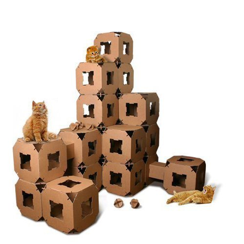 New-Cube-Cat-Tower-Toy-House-Pet-Cardboard-Tunnel-Block-5piece