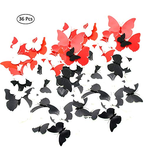 36 Pack 3D Butterfly Fridge Magnets Refrigerator Wall Decor Art Decor Crafts Home Party Decoration (Black, White, Red) (3 colors)