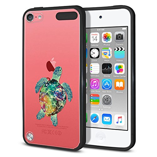 Apple iPod Touch 5 Hybrid Case, FINCIBO Slim Shock Absorbing TPU Bumper + Clear Hard Back Protective Cover Case for Apple iPod Touch 5 (5th Generation) iPod Touch 6 (6th Generation), Galaxy Sea Turtle