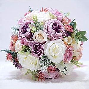 MOJUN Artificial Flowers Rose Peony Bouquet Silk Flower Artificial Roses Bridal Wedding Bouquet for Home Garden Party Wedding Decoration, Purple
