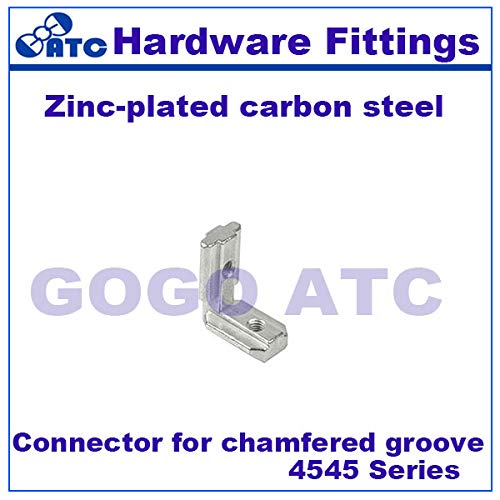 Ochoos Standard 50pcs//lot Connector for Chamfer Groove 4545 Series Zinc-Plated Carbon Steel Angle Connector