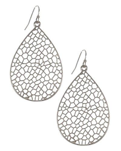 """- Large Silver-Tone Matte Finish Open Work Filigree Honeycomb Patterned Teardrop Dangle Earrings, 2 1/4"""""""