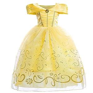 JiaDuo Little Girls Princess Belle Costume Party Layered Fancy Dress Up