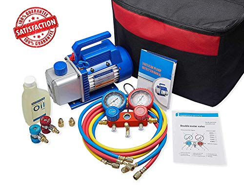 NewPosition 4CFM 1/3HP Air Vacuum Pump HVAC A/C Refrigeration Tool Kit AC,Auto Repair Equipment, Manifold Gauge Set(R134A R22),Coupler Valve, 3 Hoses, Ideal for Food Packaging,Milking,Medical etc
