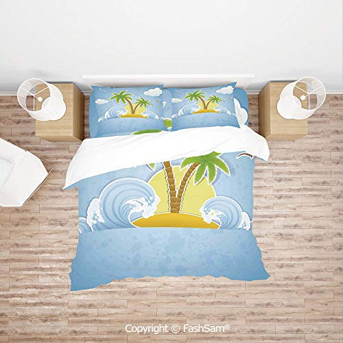 FashSam Duvet Cover 4 Pcs Comforter Cover Set Illustration of Tropical Island with Palm Trees Waves and Clouds in The Ocean Print for Boys Grils Kids(Queen)