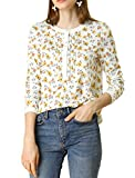 Allegra K Women's Spring Casual Knit Tops Long Sleeve Floral Blouse