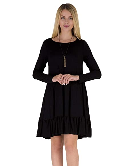 ec92e2e814311 ENQI TRADE Womens Round Neck Long Sleeve Ruffle Hem Pocket Dresses (Black,  S)