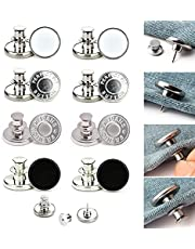 FUPPUO 8Pcs Replacement Buttons, Button Pins for Jeans No Sew Instant Adjustable Jean Button Pins Metal Clips Snap Tack