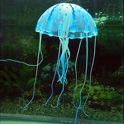Resplandeciente Efecto silicona emulational medusas del ornamento por Fish Tank Acuario Tamaño S Azul