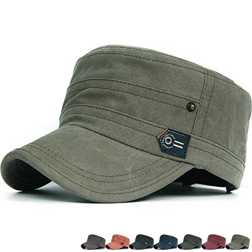 Visor Military Style Cap (REDSHARKS Cadet Caps Military Hats Fit for Unisex Adult Arrow Logo Bright Colors Green)