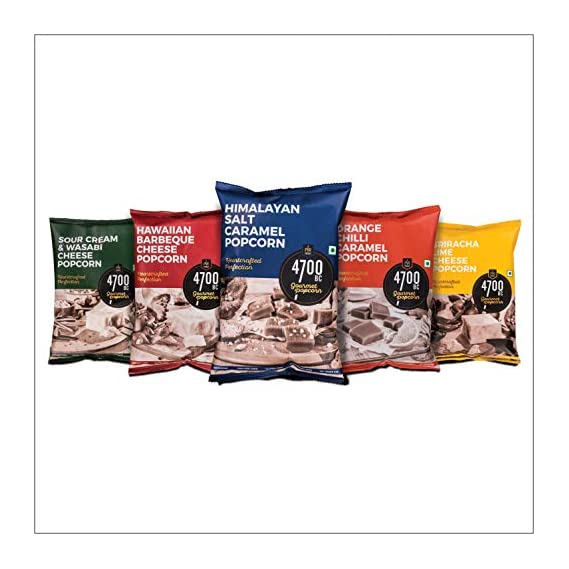 4700BC Gourmet Popcorn, 5 Flavours Pack (3 Cheese, 2 Caramel), 475g