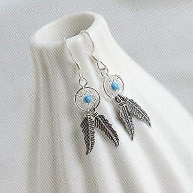 84ab197de214f Amazon.com: Women Retro Silver Turquoise Feather Dream Catcher ...
