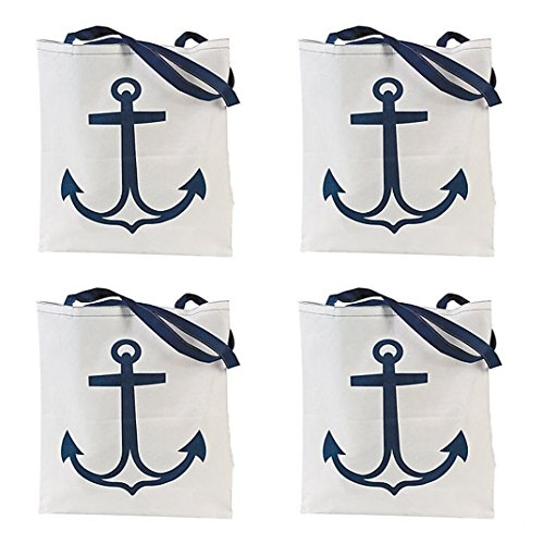 12 Nautical Anchor Tote Bags - Large 17x15 inch - Nautical Wedding and party (Anchor Tote Bag)