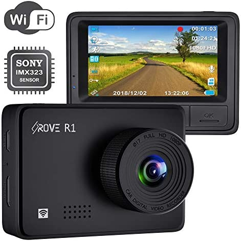 Rove R1 WiFi Dash Cam 1080P FHD Built in Sony CMOS Sensor Car Driving Recorder 2.45 LCD Display 150 Wide Angle, WDR, Parking Monitor, Loop Recording, Motion Detection, G-Sensor, 128GB SD Slot