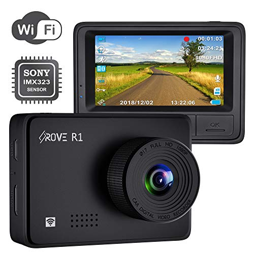 "Rove R1 Dash Cam with WiFi and Sony IMX323 Sensor 1080p FHD Dash Camera for Cars WDR, SuperCapacitors, G-Sensor, 24-HR Parking Monitor, Loop Recording, 2.45"" IPS Screen, Supports 512GB Max"