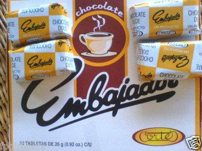 Sweet Dominican Chocolate Embajador Box of 30 Bars / Tablets by Chocolate Embajador