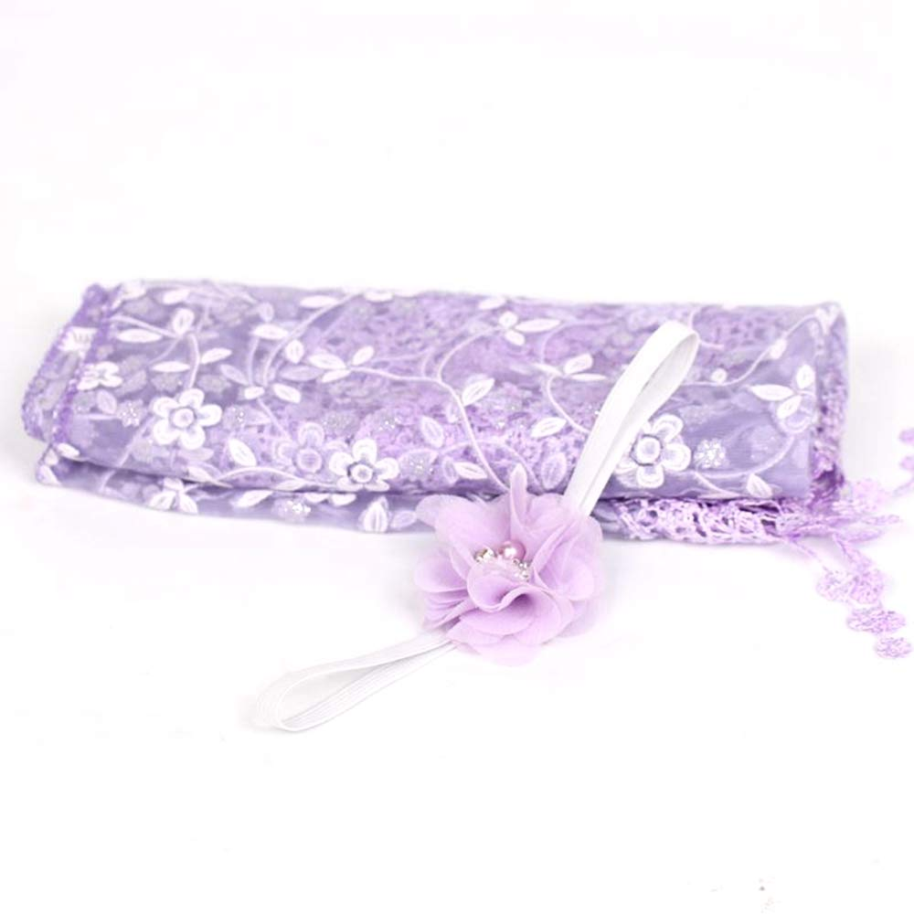 NVLFHY Newborn Photography Props Backdrop Wrap Blankets Lace Headband Baby Photo Props for Boy Girls