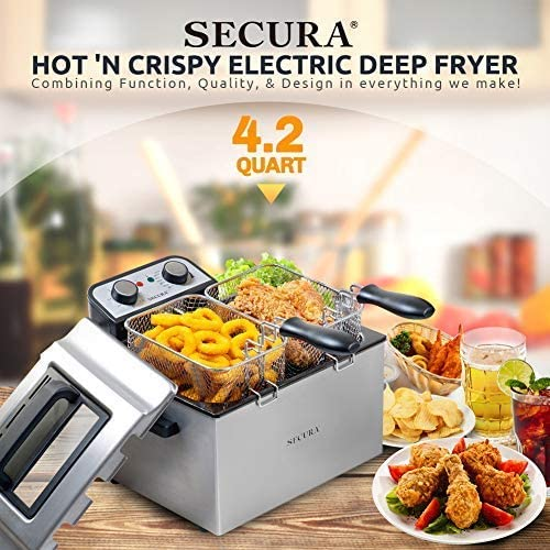 Professional Grade Secura 1800W Large Stainless Steel Electric Deep Fryer with Triple Basket and Timer MSAF40DH 4.0L//4.2Qt