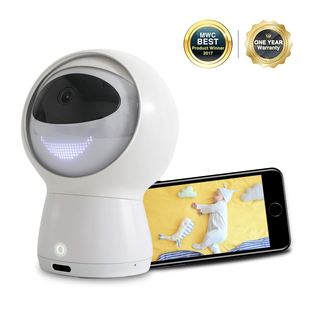 Hubble Hugo Video Baby Monitor, 1080P HD Smart WiFi Baby Camera with 2-Way Audio, Multifunctional AI Robot with Amazon Alexa, Lullaby, Night Vision, Surveillance Security Camera 2019 Upgraded