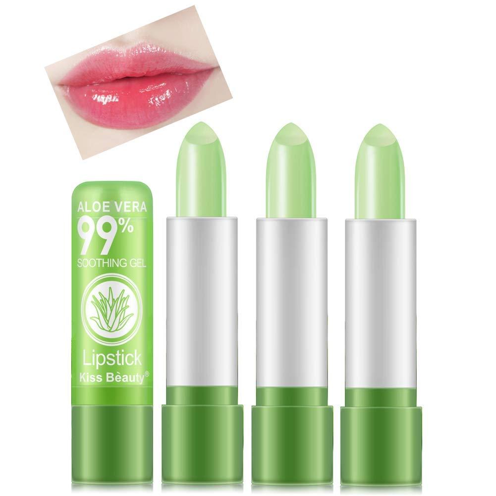 3 Pack Aloe Vera Lip Balm Moisturizing Lip Plumper Temperature Color Change Lipstick Long Lasting Nutritious Aloe Vera Lipstick Set