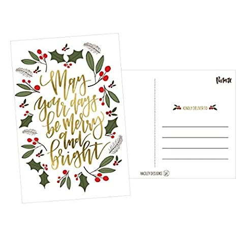 50 Green & Gold Holiday Greeting Cards, Cute Fancy Blank Winter Christmas Postcard Set, Bulk Pack of Premium Seasons Greetings Note, Happy New Years for Kids, Business Office or Church Thank You - Christmas Design Pack