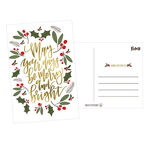 50 Green & Gold Holiday Greeting Cards, Cute Fancy Blank Winter Christmas Postcard Set, Bulk Pack of Premium Seasons Greetings Note, Happy New Years for Kids, Business Office or Church Thank You Notes (Merry Christmas And Happy New Year Greeting Card)