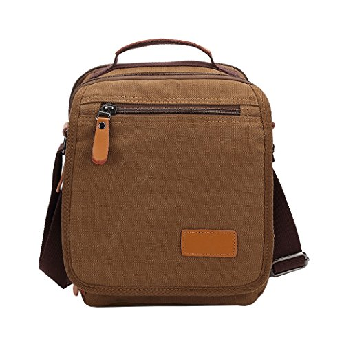 Crossbody Coffee Casual Women Satchel Work Vrikoo For Messenger khaki Pack Canvas Bag Men Multifunction Shoulder 6qq5Yn