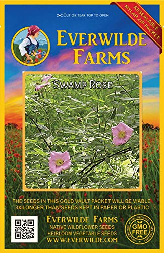 (Everwilde Farms - 100 Swamp Rose Native Wildflower Seeds - Gold Vault Jumbo Seed Packet)