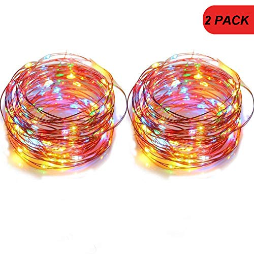 LENPOW 2 Pack Led Starry Fairy String Lights Super Bright Firefly Rope Lamp Twinkle Lantern 16.4ft 50 Led Waterproof 8 Modes Remote Control for Wedding Festival Decor Battery Operated (Multicolor)