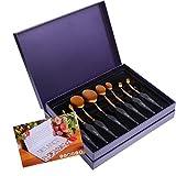 DE'LANCI 8Pcs Pro Oval Makeup Brushes Soft Toothbrush Contour Brush Kit Eyeshadow Foundation Blending Makeup Brush Set Oval Concealer Brush Tools with Gift Box