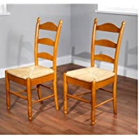 Solid Rubber Wood Construction Chairs, Ladder Back, Rush Seat, Set of 2, Oak