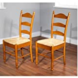 Solid Rubber Wood Construction Chairs, Ladder Back, Rush Seat, Set of 2, Oak For Sale